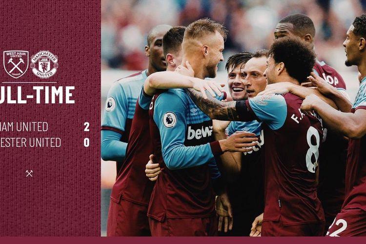 WEst Ham United mengalahkan Manchester United 2-0 dalam lanjutan Liga Inggris, Minggu (22/9/2019).