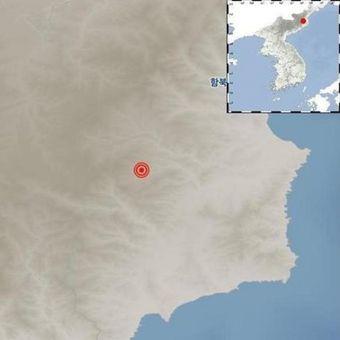 Gambar ini menunjukkan pusat gempa yang terjadi di Korea Utara pada Rabu (2/1/2019). (KMS/Yonhap)