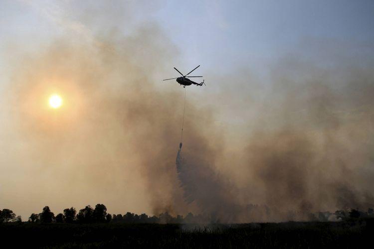 Kebakaran hutan dan lahan di kawasan Rambutan, Kabupaten Ogan Ilir, Sumatera Selatan, Rabu (13/9/2017). Kebakaran itu terjadi sekitar pukul 14.00. Petugas darat dan udara berusaha memadamkan api kebakaran itu sejak pukul 14.30 hingga 18.00. Hingga Rabu petang, kebakaran masih terjadi. Kebakaran ini diduga kuat akibat ulah manusia yang sengaja membakar untuk membuka lahan pertanian.