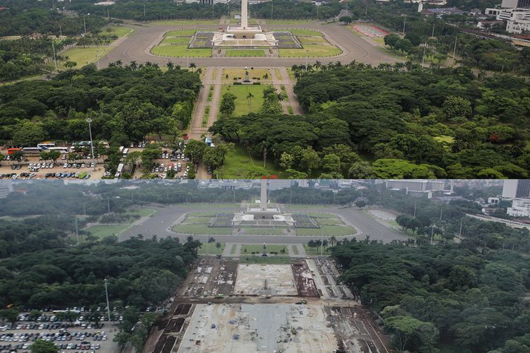 Foto sebelum dan sesudah kawasan Monumen Nasional sisi selatan yang pohonnya ditebang.