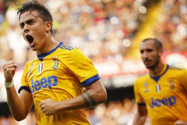 Ekspresi penyerang Juventus, Paulo Dybala, selepas menjebol gawang Genoa dalam laga Serie A di Luigi Ferraris, 26 Agustus 2017.
