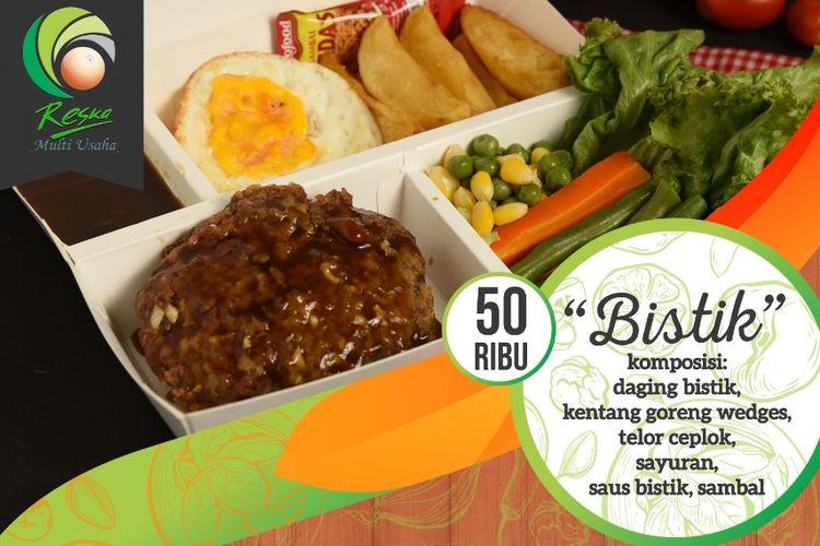 Menu makanan Bistik yang ada di kereta api kelas Eksekutif. Menu ini dibandrol PT Reska Multi Usaha seharga Rp Rp 50.000.