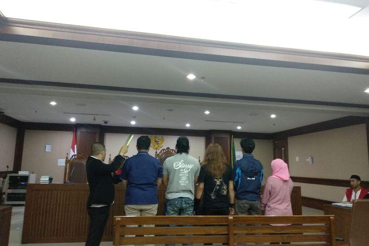 Lima saksi yang dihadirkan dalan persidangan Hermawan Susan, pria pengancam pemenggal kepala Jokowi di PN Jakpus, Selasa (7/1/2020).