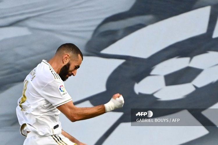 Perayaan gol striker Real Madrid, Karim Benzema, ke gawang Villarreal pada Jumat (17/7/2020) dini hari WIB di Stadion Alfredo Di Stefano.