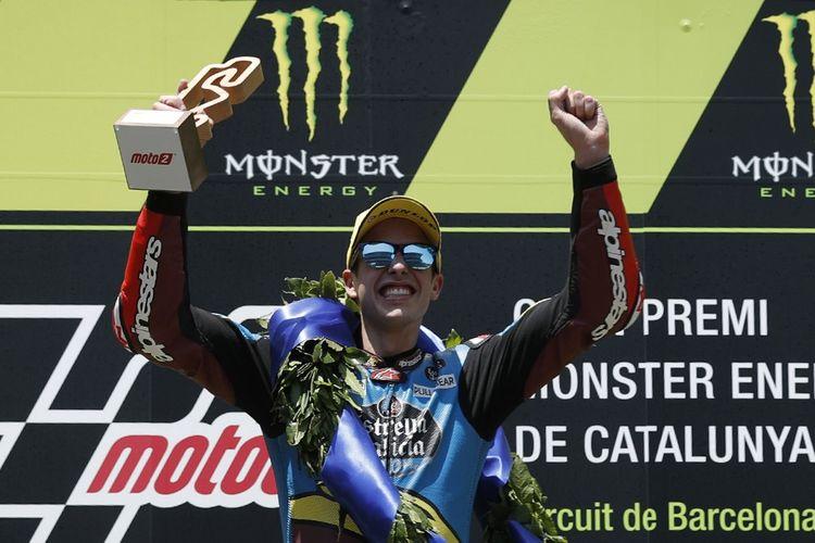 Pebalap Alex Marquez berhasil memenangi balapan Moto2 di Srikuit Catalunya, Minggu (16/6/2019).