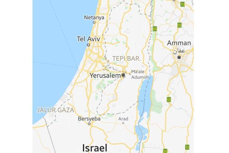 Tangkapan layar dari Google Maps. Wilayah negara Palestina yang dianggap batas-batas yang disengketakan ditandai dengan garis abu-abu putus-putus.
