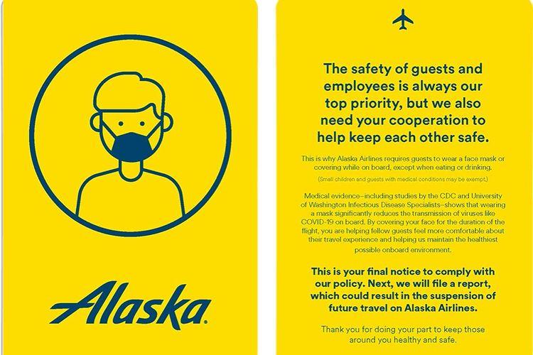 Kartu kuning maskapai penerbangan Alaska Airlines.