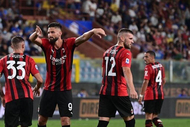 Olivier Giroud dalam laga Sampdoria vs AC Milan di Stadion Luigi Ferraris, Senin (24/8/2021) dini hari WIB.