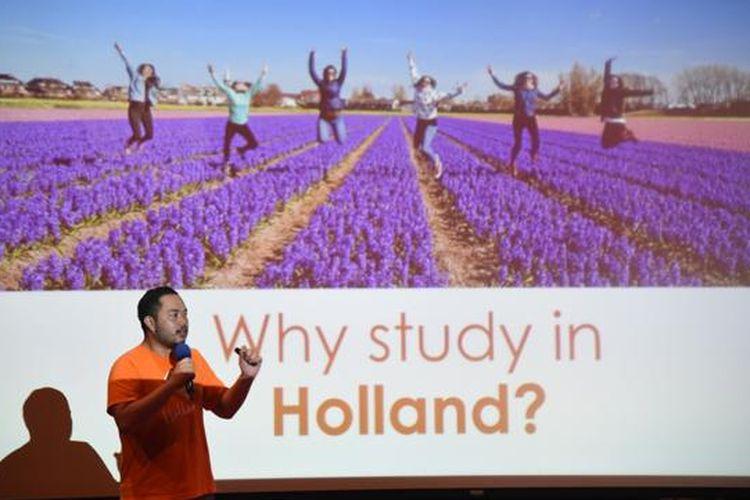 Pameran Pendidikan Holland Scholarship Programme di Erasmus Huis, Jakarta, Sabtu (18/1/2020).