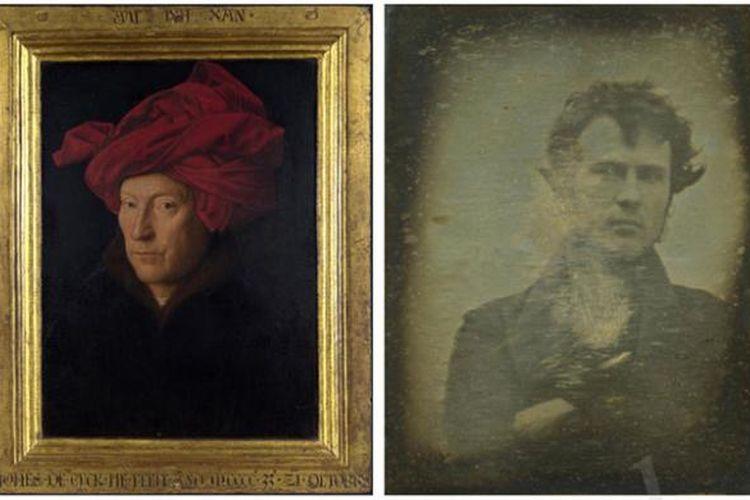 Lukisan berjudul Portrait of a Man (kiri) karya Jan Van Eyck dari tahun 1433 adalah salah satu potret diri tertua. Di sebelahnya ada foto selfie terawal jepretan Robert Cornelius pada tahun 1839.