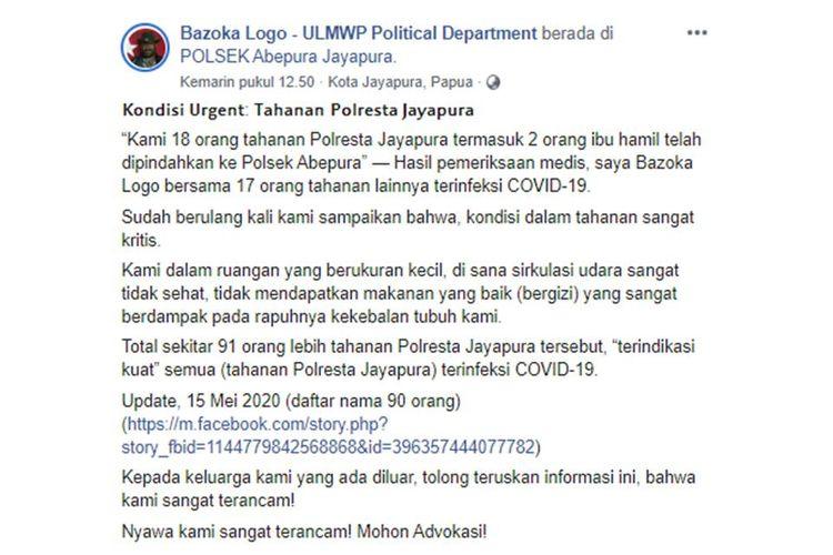 Tangkapan layar unggahan yang menyebut bahwa puluhan tahanan di Jayapura terinfeksi Covid-19.