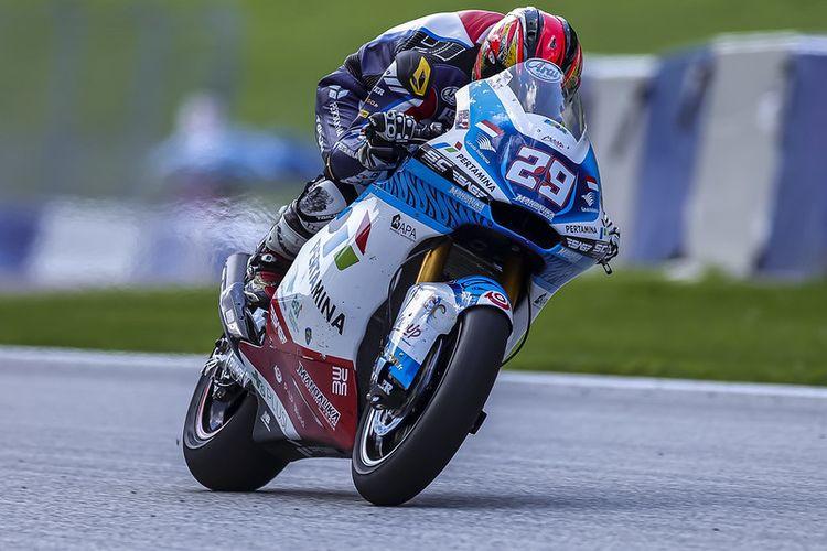 Pebalap Pertamina Mandalika SAG Team, Taiga Hada, saat berlaga pada Moto2 Austria 2021
