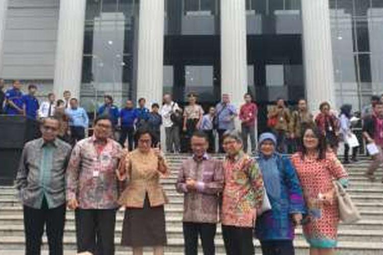 Menteri Keuangan Sri Mulyani di Gedung Mahkamah Konstitusi (MK), Jakarta, Rabu (14/12/2016)