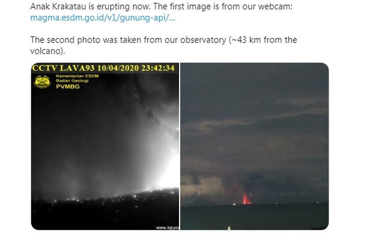 Gunung Anak Krakatau meletus Jumat 10 April 2020