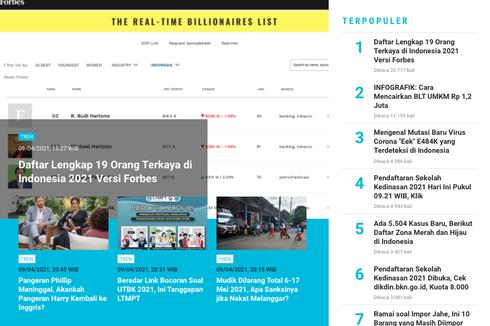 [POPULER TREN] Daftar 19 Orang Terkaya di Indonesia | Mutasi Baru Virus Corona