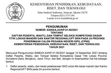 Link, Daftar Peserta, dan Jadwal SKD CPNS 2021 Kemendikbud Ristek di 24 Provinsi