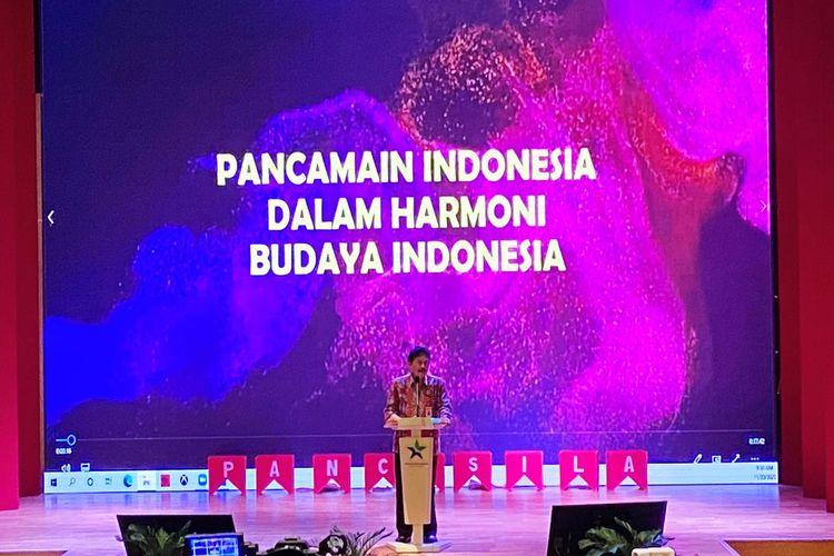 Ketua BPIP Yudian Wahyudi, dalam Hari Anak Dunia (World Children Day) sekaligus Peluncuran Produk Pembinaan Ideologi Pancasila berupa Pancamain Indonesia, di Perpustakaan Nasional, Jakarta Pusat, Jumat (20/11/2020).