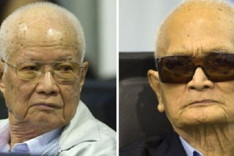 Dua pemimpin rezim Khmer Merah Khieu Samphan (kiri) dan Nuon Chea. Keduanya diputus penjara seumur hidup setelah dianggap melakukan genosida.