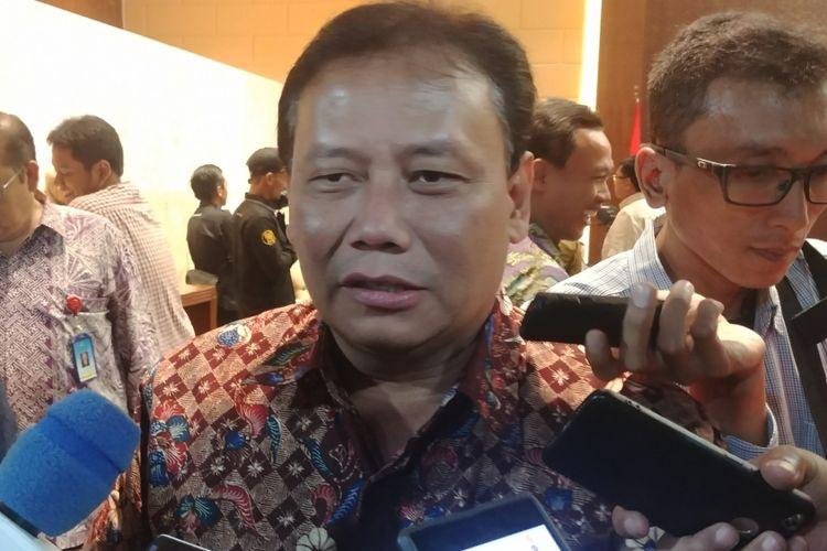 Ketua Bawaslu Abhan di Kompleks Parlemen, Senayan, Jakarta, Senin (2/7/2018).