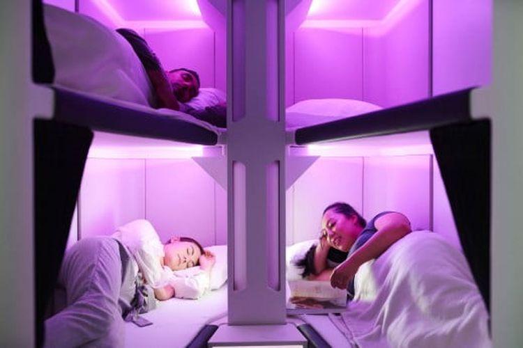 Sleeping pod di Air New Zealand.