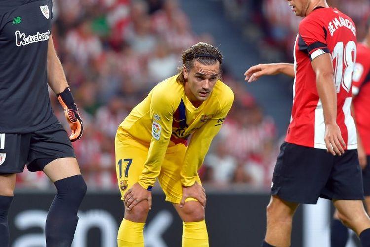Penyerang Barcelona, Antoine Griezmann (kedua dari kiri) saat tampil pada laga pembuka Liga Spanyol 2019-2020 melawan Athletic Bilbao, di Stadion San Mames, Jumat atau Sabtu (17/8/2019) dini hari WIB.