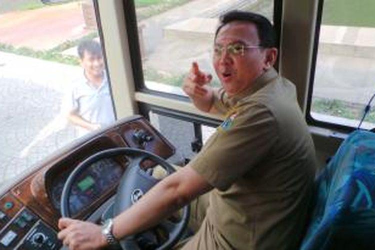 Wakil Gubernur DKI Jakarta Basuki Tjahaja Purnama saat mencoba bus new metro mini yang terparkir di halaman Balaikota Jakarta, Selasa (10/12/2013). Bus itu merupakan prototype yang akan diajukan ke DKI dan Metro Mini.