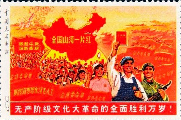 Perangko langka dari China berjudul Seluruh Negeri Berwarna Merah.