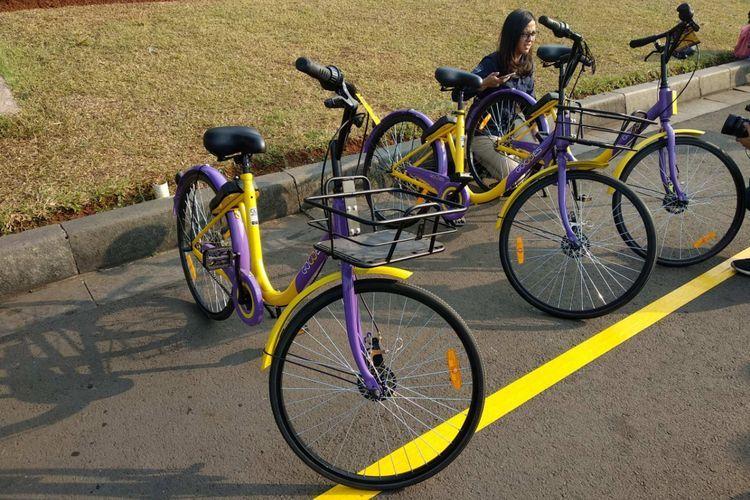 Sepeda bike sharing Gowes di Monas, Jakarta Pusat. (KOMPAS.com/NIBRAS NADA NAILUFAR)