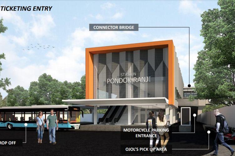 Desain Stasiun Pondok Ranji, Tangerang Selatan yang nantinya akan diubah menjadi kawasan terpadu.
