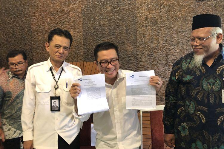 Helmy Yahya dan kuasa hukum, Chandra Marta Hamzah saat dijumpai di kawasan Taman Ria Senayan, Jakarta Pusat, Jumat (17/1/2020).