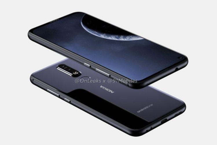 Ilustrasi Nokia 8.1 Plus Atas dan Bawah