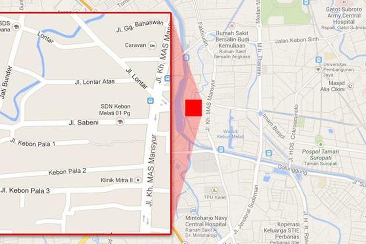 Peta kawasan Jalan Sabeni, Kebon Melati, Tanah Abang, Jakarta Pusat.