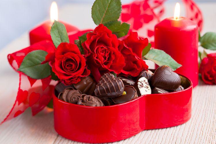 Ilustrasi cokelat valentine.