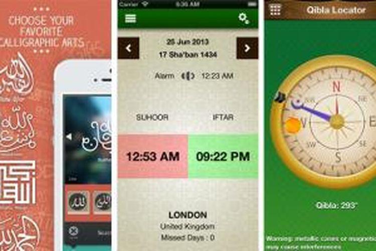 Screenshot beberapa aplikasi Islami untuk iOS