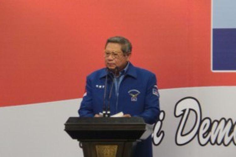 Ketua Umum Partai Demokrat Susilo Bambang Yudhoyono saat memberi arahan dalam Rapat Kordinasi Nasional, di Jakarta, Sabtu (29/6/2013).