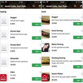 Deskripsi nyeleneh Asobi cafe di GoFood
