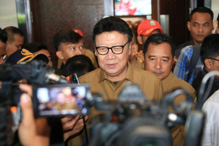 Menteri Dalam Negeri (Mendagri) Tjahjo Kumolo di Hotel Bidakara, Jakarta, Senin (11/2/2019).