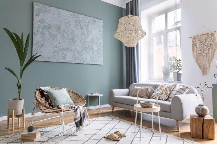 Ilustrasi interior rumah paduan minimalis dan boho chic.