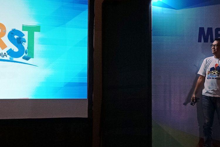 Marlo Budiman Presiden Direktur PT Link Net Tbk melauncing First Media di Medan pada Kamis (3/5/2018)