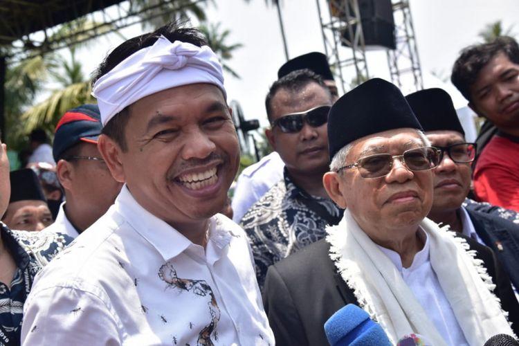 Ketua Tim Kampanye Daerah (TKD) Jokowi-Ma'ruf Amin Jawa Barat Dedi Mulyadi mendampingi Calon Wakil Presiden RI nomor urut 02 Ma'ruf Amin saat melakukan kunjungan ke Kabupaten Pangandaran, Kamis (28/2/2019).