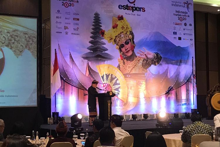 Tourism and Creative Economy Minister Wishnutama Kusubandio delivers his speech during the opening ceremony of Indonesia Tourism Outlook 2020 in Badung regency in Bali on Friday, November 22, 2019.