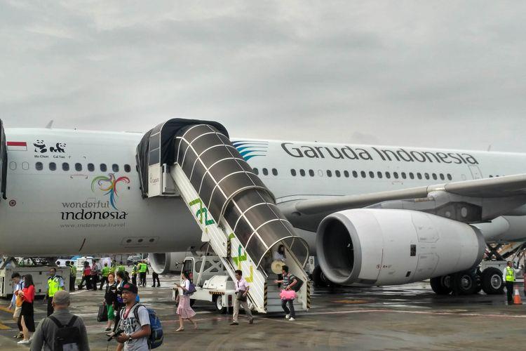 Ilustrasi: Pesawat Garuda Indonesia di Bandara Soekarno-Hatta, Kamis (28/9/2017).