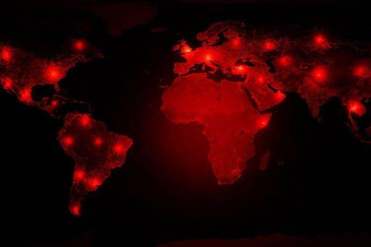 Ilustrasi virus corona di dunia