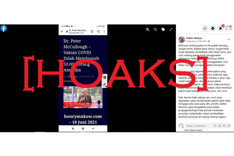 Akun Facebook Hakim Waluyo menyebut vaksin Covid-19, Pfizer dan Moderna, mengandung program aplikasi komputer.