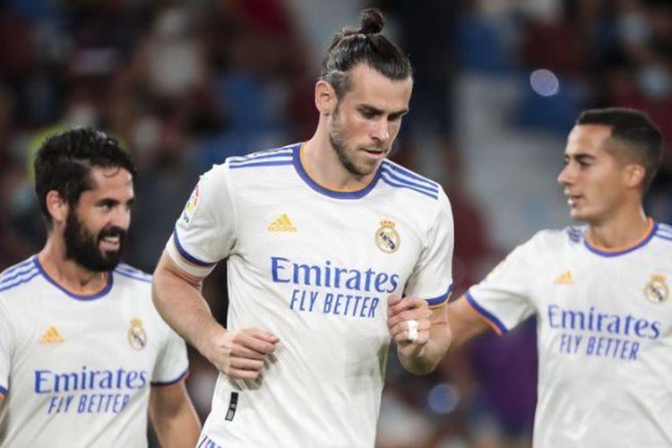 Ekspresi Gareth Bale (tengah) seusai mencetak gol pada laga pekan kedua Liga Spanyol yang mempertemukan Levante vs Valentcia di Estadio Ciudad de Valencia, Senin (23/8/2021) dini hari WIB.