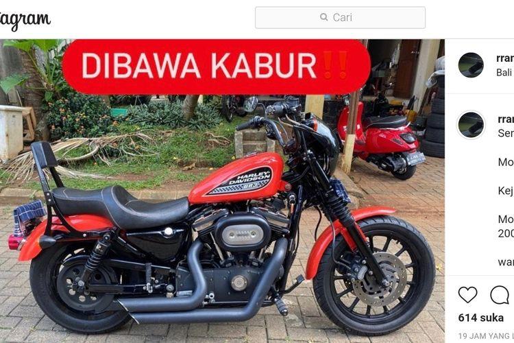 Tangkapan layar akun Instagram korban pencurian motor Harley Davidson di Ciputat Timur, Tangerang Selatan.