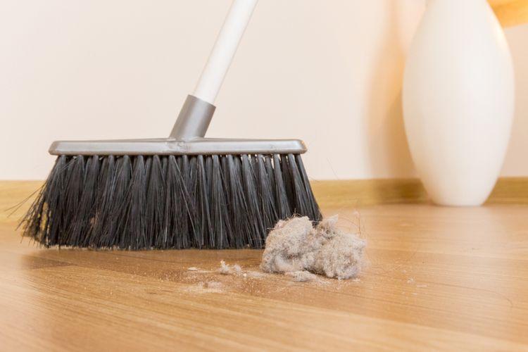 Ilustrasi debu, membersihkan debu di rumah.