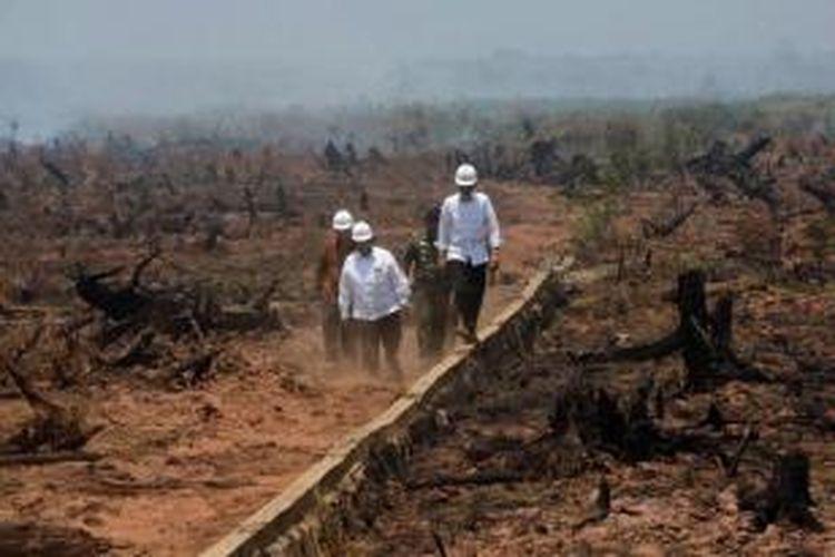Presiden Joko Widodo (depan) dan Menteri Kehutanan dan LIngkungan Hidup, Siti Nurbaya (kiri), melakukan inspeksi kebakaran hutan gambut di Banjarbaru, Kalimatan Selatan, 23 September 2015.