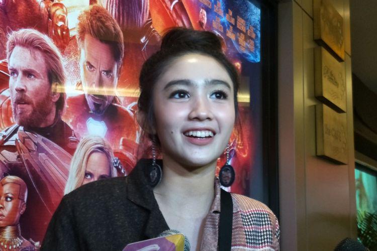 Febby Rastanty dalam wawancara di sela screening film Avengers: Infinity War di XXI Kota Kasablanka, Jakarta Selatan, Selasa (24/4/2018) malam.