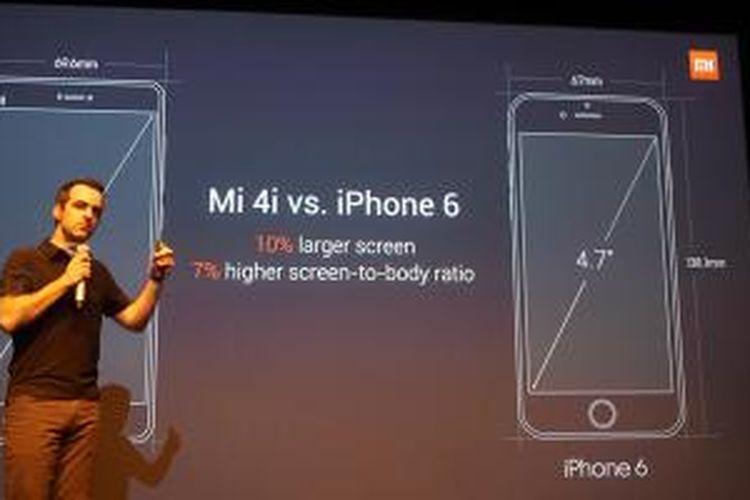 Hugo Barra, VP Xiaomi Global, saat membandingkan Mi 4i dengan iPhone 6